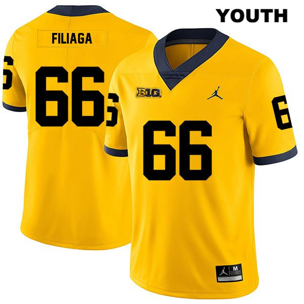 Youth Jordan no. 66 Legend Michigan Wolverines Yellow Stitched Chuck Filiaga Authentic College Football Jersey - Chuck Filiaga Jersey