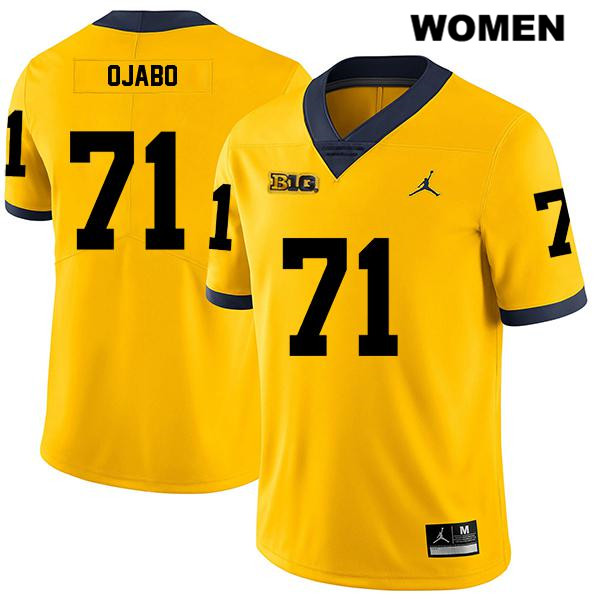 Womens Legend no. 71 Michigan Wolverines Jordan Yellow Stitched David Ojabo Authentic College Football Jersey - David Ojabo Jersey