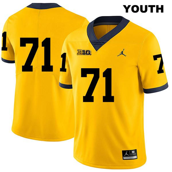 Youth Legend no. 71 Michigan Wolverines Stitched Yellow Jordan David Ojabo Authentic College Football Jersey - No Name - David Ojabo Jersey
