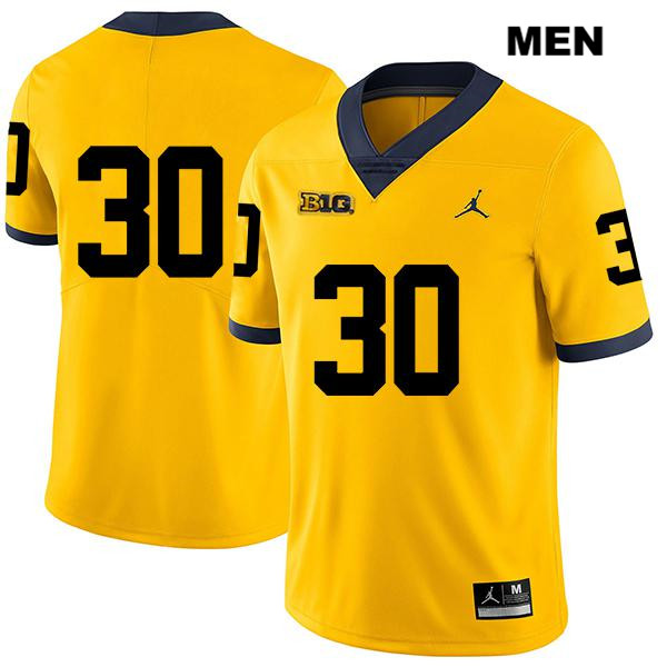 Mens Stitched no. 30 Michigan Wolverines Yellow Jordan Legend Daxton Hill Authentic College Football Jersey - No Name - Daxton Hill Jersey