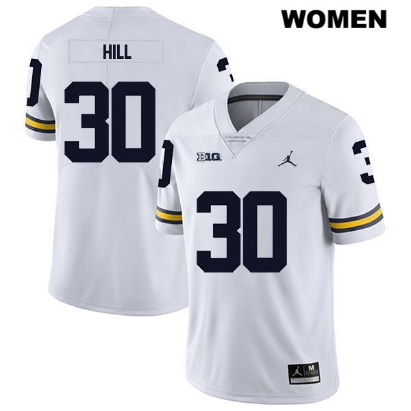 Womens no. 30 Michigan Wolverines White Stitched Legend Daxton Hill Jordan Authentic College Football Jersey - Daxton Hill Jersey