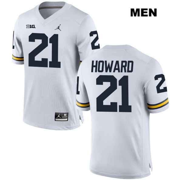 Mens Stitched no. 21 Michigan Wolverines White Jordan Desmond Howard Authentic College Football Jersey - Desmond Howard Jersey