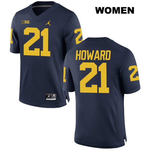 Womens Jordan no. 21 Michigan Wolverines Navy Stitched Desmond Howard Authentic College Football Jersey - Desmond Howard Jersey