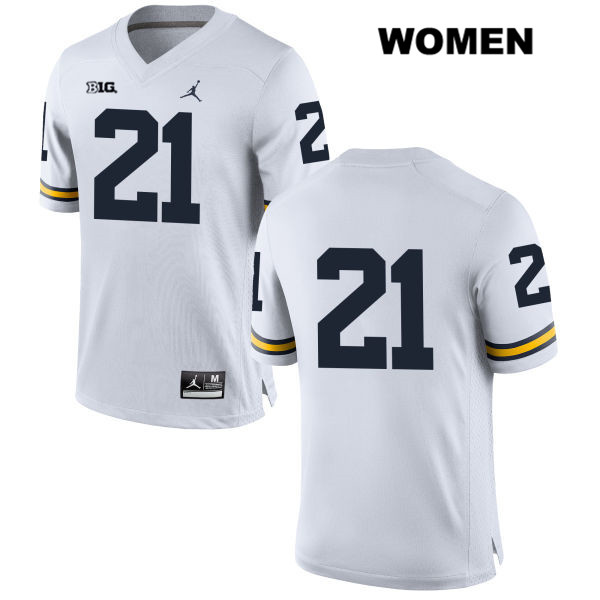 Womens no. 21 Michigan Wolverines White Desmond Howard Jordan Stitched Authentic College Football Jersey - No Name - Desmond Howard Jersey
