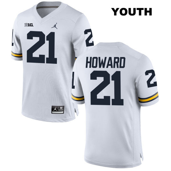 Youth Jordan no. 21 Stitched Michigan Wolverines White Desmond Howard Authentic College Football Jersey - Desmond Howard Jersey