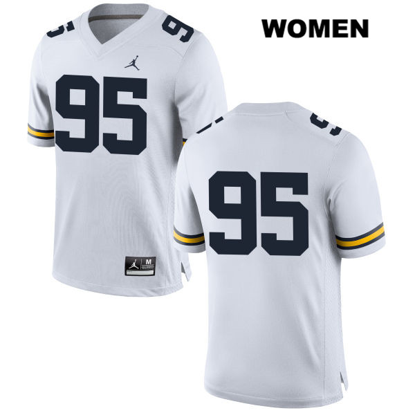 Jordan Womens no. 95 Michigan Wolverines Stitched White Donovan Jeter Authentic College Football Jersey - No Name - Donovan Jeter Jersey