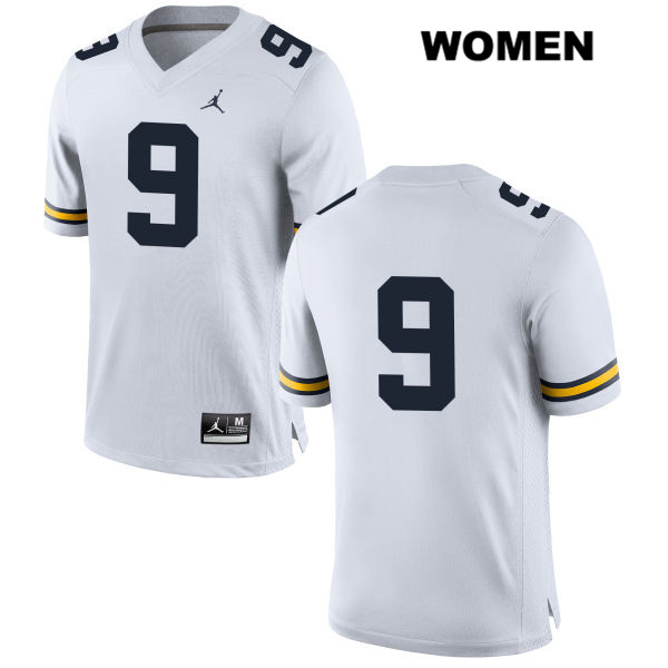 Womens Jordan no. 9 Stitched Michigan Wolverines White Donovan Peoples-Jones Authentic College Football Jersey - No Name - Donovan Peoples-Jones Jersey