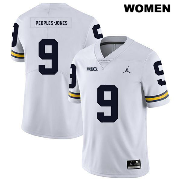Jordan Womens no. 9 Stitched Michigan Wolverines White Legend Donovan Peoples-Jones Authentic College Football Jersey - Donovan Peoples-Jones Jersey