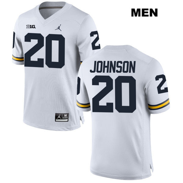 Stitched Mens no. 20 Michigan Wolverines White Drake Johnson Jordan Authentic College Football Jersey - Drake Johnson Jersey
