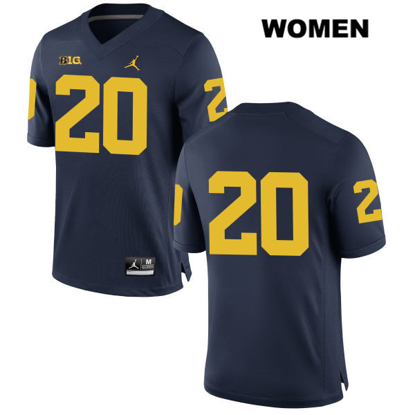 Jordan Womens no. 20 Michigan Wolverines Navy Stitched Drake Johnson Authentic College Football Jersey - No Name - Drake Johnson Jersey