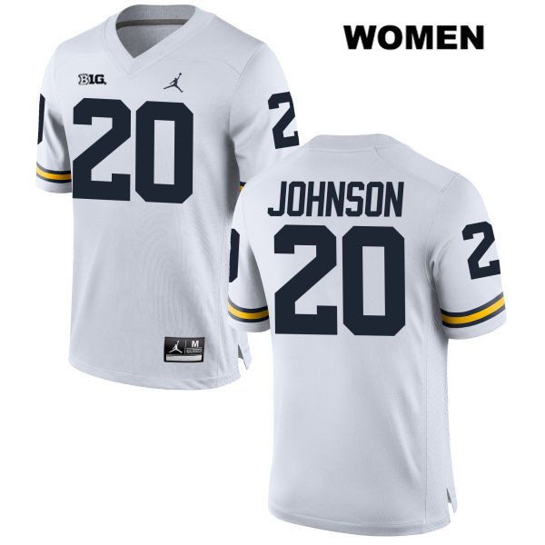 Womens Jordan no. 20 Stitched Michigan Wolverines White Drake Johnson Authentic College Football Jersey - Drake Johnson Jersey