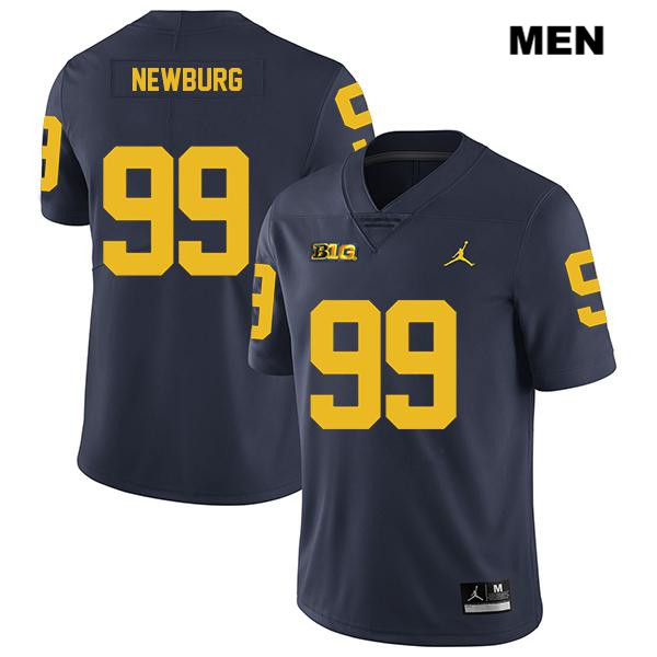 Mens Stitched Jordan no. 99 Michigan Wolverines Navy Legend Gabe Newburg Authentic College Football Jersey - Gabe Newburg Jersey