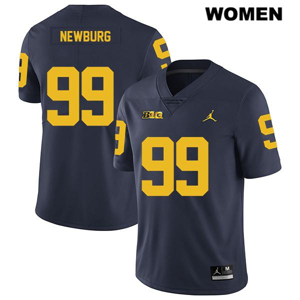 Womens no. 99 Michigan Wolverines Legend Stitched Navy Gabe Newburg Jordan Authentic College Football Jersey - Gabe Newburg Jersey