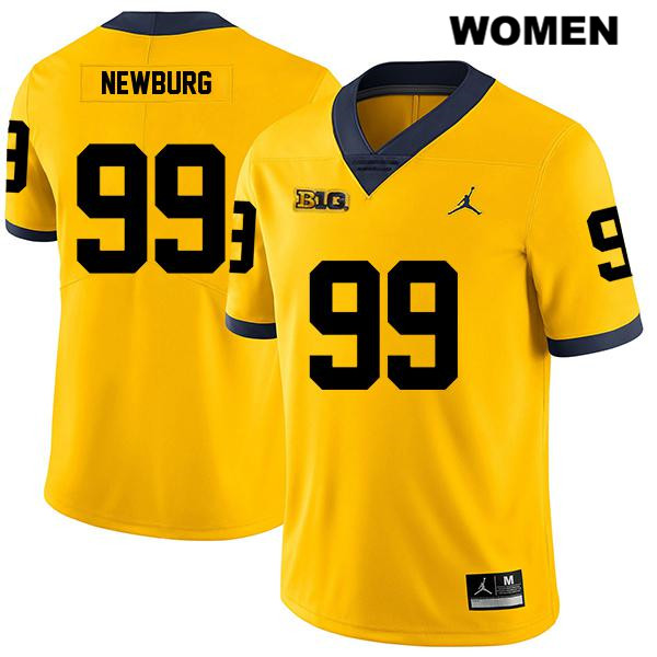 Jordan Womens no. 99 Legend Michigan Wolverines Yellow Stitched Gabe Newburg Authentic College Football Jersey - Gabe Newburg Jersey