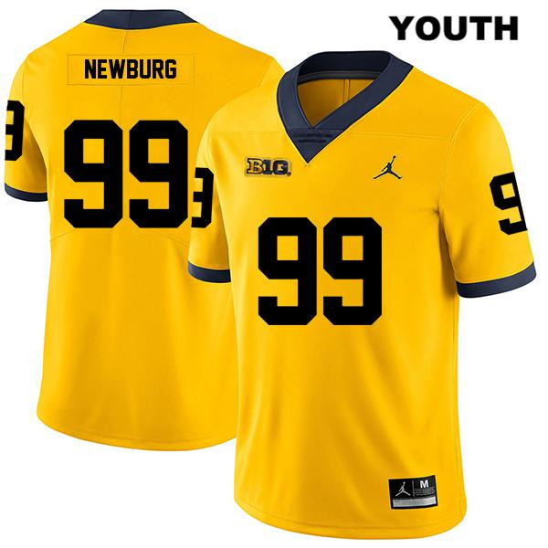 Youth Legend no. 99 Stitched Michigan Wolverines Jordan Yellow Gabe Newburg Authentic College Football Jersey - Gabe Newburg Jersey