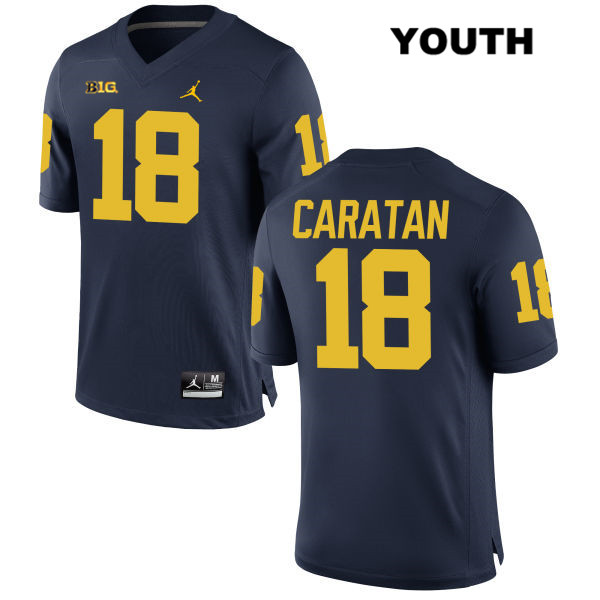 Jordan Youth no. 18 Michigan Wolverines Stitched Navy George Caratan Authentic College Football Jersey - George Caratan Jersey