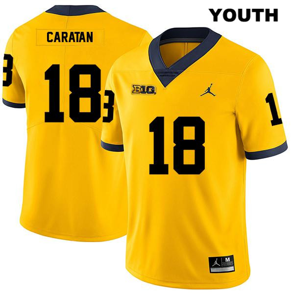Youth no. 18 Legend Michigan Wolverines Stitched Yellow George Caratan Jordan Authentic College Football Jersey - George Caratan Jersey