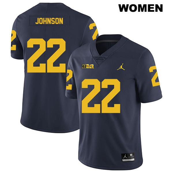 Womens no. 22 Legend Michigan Wolverines Navy George Johnson Stitched Jordan Authentic College Football Jersey - George Johnson Jersey