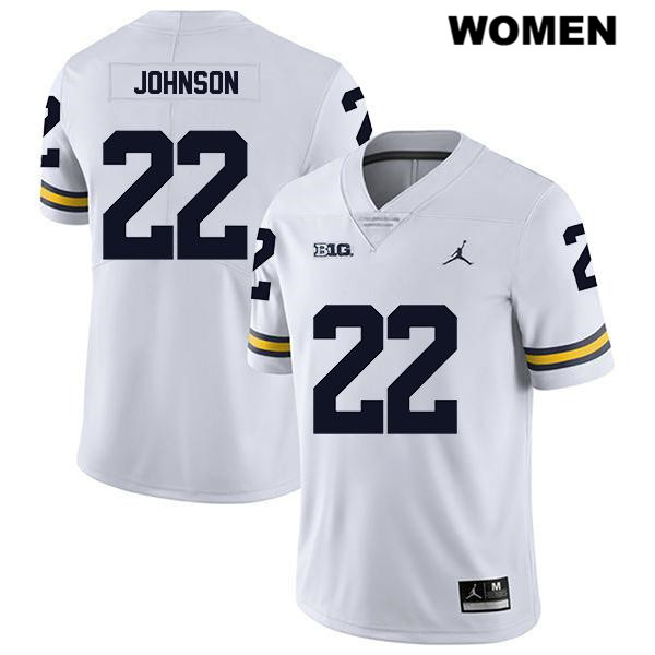 Womens no. 22 Jordan Stitched Michigan Wolverines White Legend George Johnson Authentic College Football Jersey - George Johnson Jersey