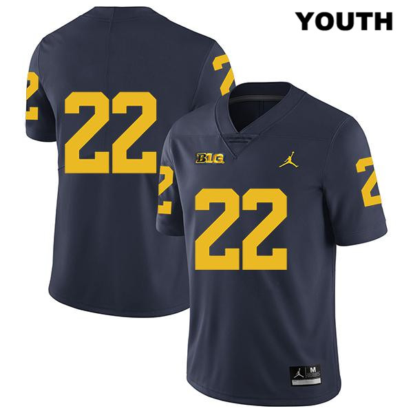 Legend Youth no. 22 Michigan Wolverines Stitched Navy Jordan George Johnson Authentic College Football Jersey - No Name - George Johnson Jersey