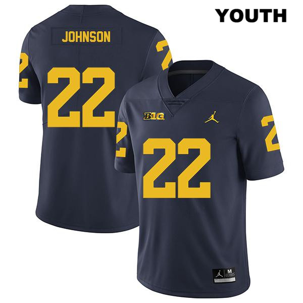 Youth no. 22 Jordan Michigan Wolverines Legend Navy George Johnson Stitched Authentic College Football Jersey - George Johnson Jersey