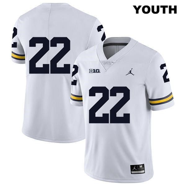 Legend Youth Jordan no. 22 Michigan Wolverines Stitched White George Johnson Authentic College Football Jersey - No Name - George Johnson Jersey