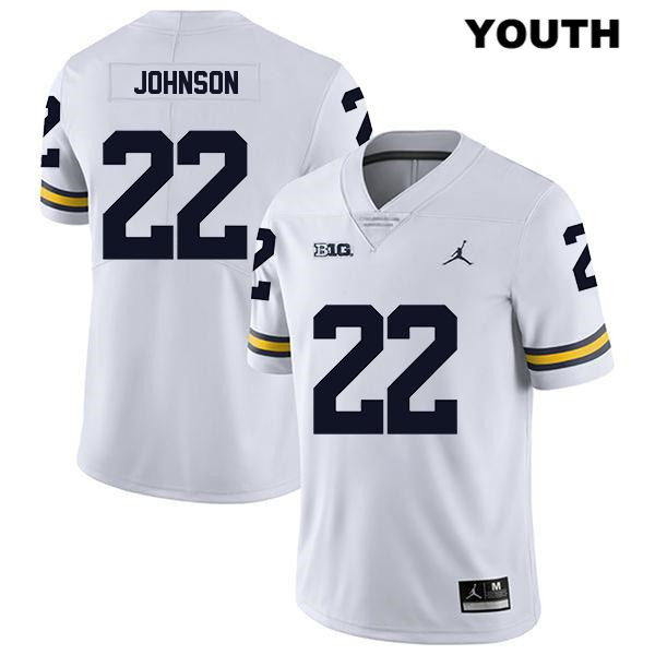 Youth no. 22 Michigan Wolverines Legend White Jordan George Johnson Stitched Authentic College Football Jersey - George Johnson Jersey