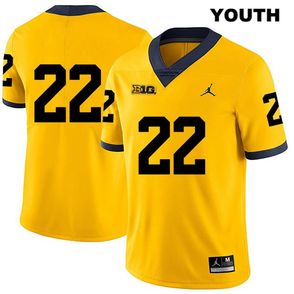 Youth no. 22 Stitched Legend Michigan Wolverines Yellow Jordan George Johnson Authentic College Football Jersey - No Name