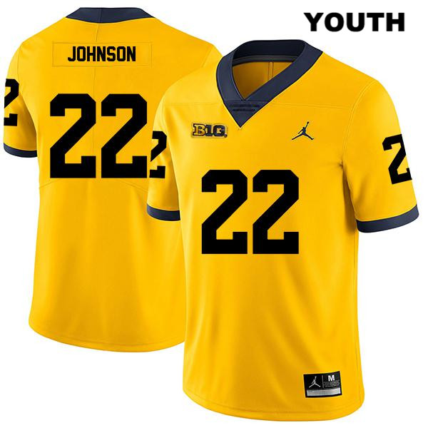 Youth Legend Jordan no. 22 Michigan Wolverines Yellow Stitched George Johnson Authentic College Football Jersey - George Johnson Jersey