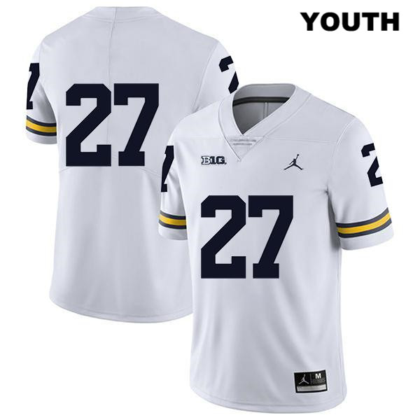 Youth Stitched no. 27 Jordan Michigan Wolverines Legend White Hunter Reynolds Authentic College Football Jersey - No Name