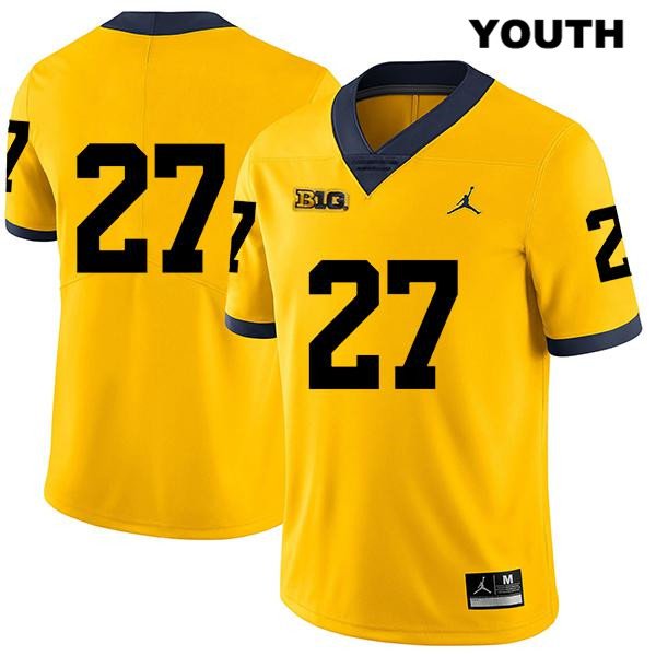 Youth Legend no. 27 Michigan Wolverines Jordan Yellow Stitched Hunter Reynolds Authentic College Football Jersey - No Name