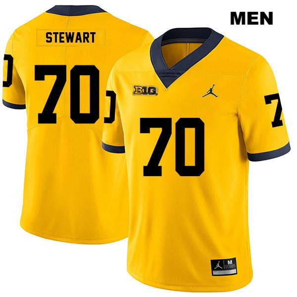 Mens no. 70 Stitched Michigan Wolverines Yellow Legend Jack Stewart Jordan Authentic College Football Jersey