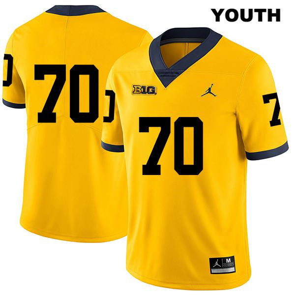 Youth no. 70 Legend Stitched Michigan Wolverines Jordan Yellow Jack Stewart Authentic College Football Jersey - No Name - Jack Stewart Jersey