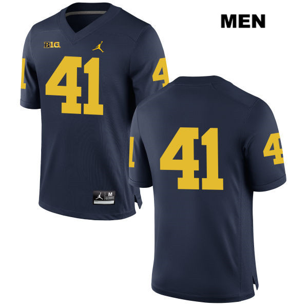 Mens no. 41 Michigan Wolverines Navy Jordan Jacob West Stitched Authentic College Football Jersey - No Name - Jacob West Jersey