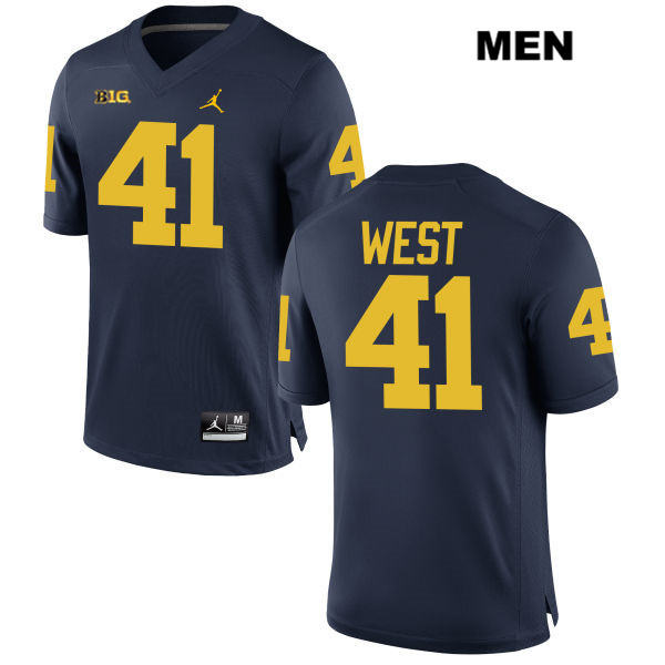 Mens Stitched no. 41 Michigan Wolverines Navy Jordan Jacob West Authentic College Football Jersey - Jacob West Jersey