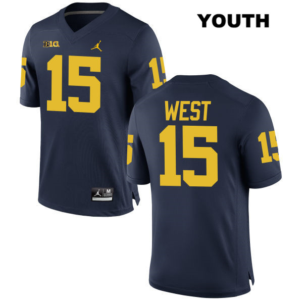 Jordan Youth no. 15 Stitched Michigan Wolverines Navy Jacob West Authentic College Football Jersey - Jacob West Jersey