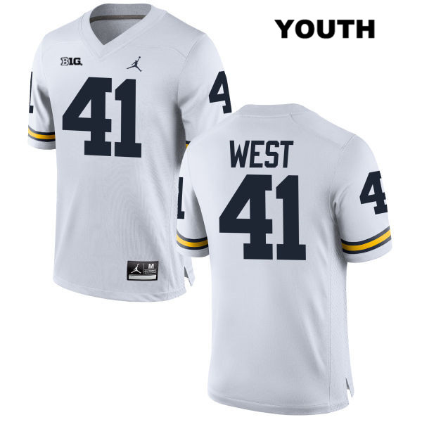 Stitched Youth no. 41 Michigan Wolverines Jordan White Jacob West Authentic College Football Jersey - Jacob West Jersey