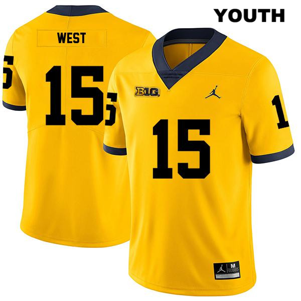 Stitched Youth Legend no. 15 Jordan Michigan Wolverines Yellow Jacob West Authentic College Football Jersey - Jacob West Jersey