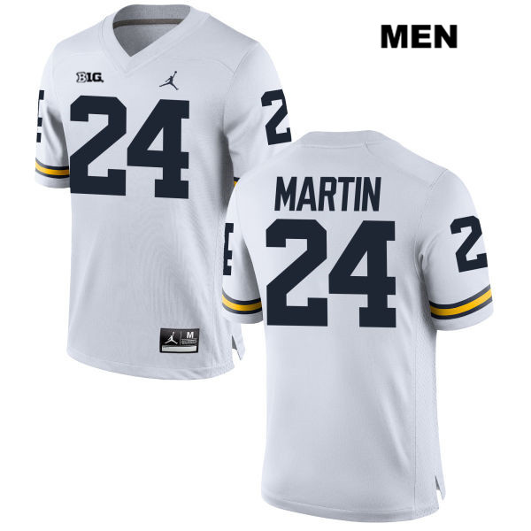 Mens no. 24 Stitched Michigan Wolverines White Jordan Jake Martin Authentic College Football Jersey - Jake Martin Jersey