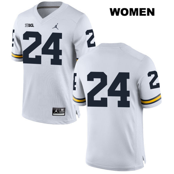 Womens no. 24 Michigan Wolverines White Jordan Jake Martin Stitched Authentic College Football Jersey - No Name - Jake Martin Jersey