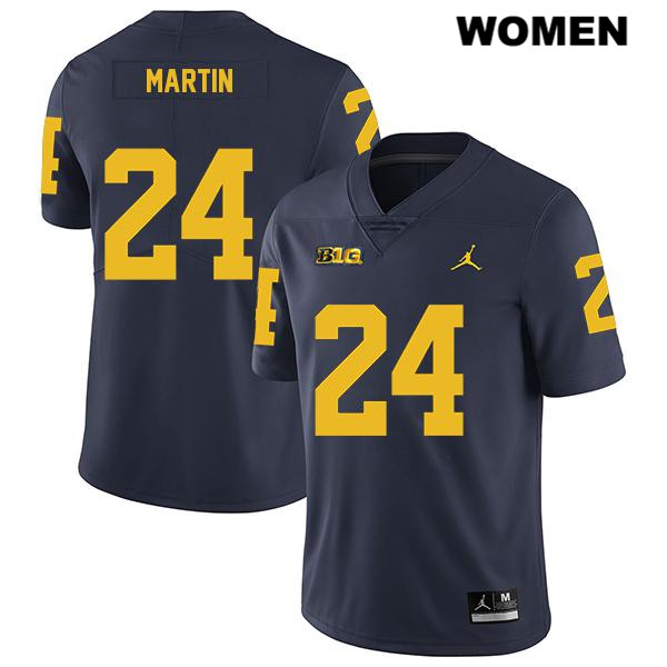 Womens no. 24 Legend Stitched Michigan Wolverines Jordan Navy Jake Martin Authentic College Football Jersey - Jake Martin Jersey