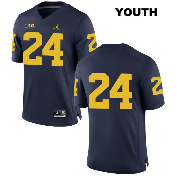 Jordan Youth no. 24 Stitched Michigan Wolverines Navy Jake Martin Authentic College Football Jersey - No Name - Jake Martin Jersey