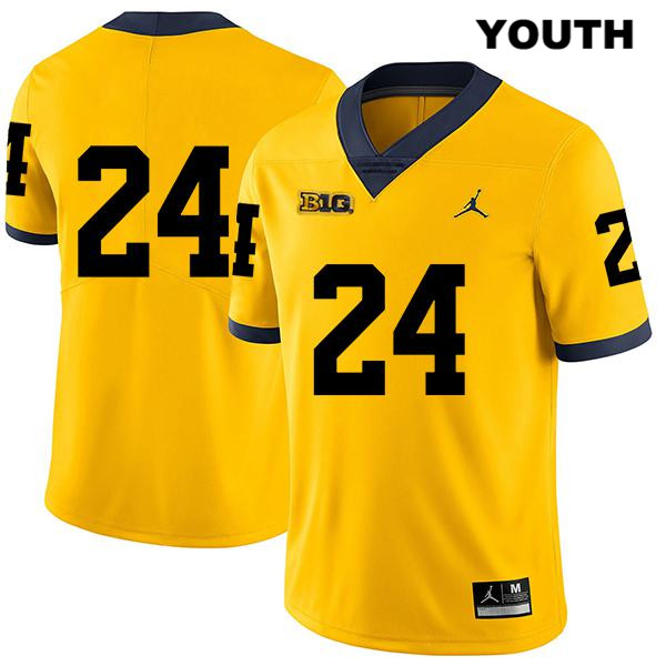 Youth no. 24 Michigan Wolverines Jordan Yellow Legend Jake Martin Stitched Authentic College Football Jersey - No Name - Jake Martin Jersey