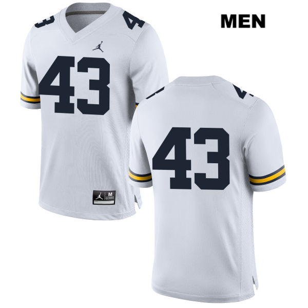Mens Jordan no. 43 Michigan Wolverines Stitched White Jake McCurry Authentic College Football Jersey - No Name - Jake McCurry Jersey