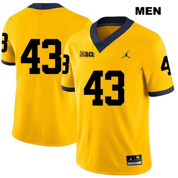 Mens no. 43 Jordan Michigan Wolverines Yellow Stitched Jake McCurry Legend Authentic College Football Jersey - No Name - Jake McCurry Jersey