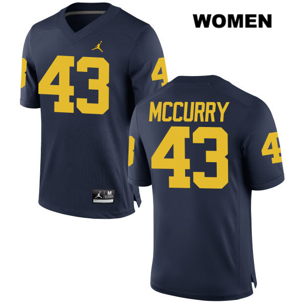 Womens Jordan no. 43 Stitched Michigan Wolverines Navy Jake McCurry Authentic College Football Jersey - Jake McCurry Jersey