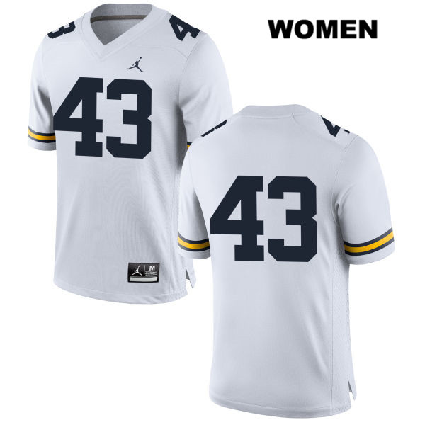 Womens Stitched no. 43 Michigan Wolverines White Jake McCurry Jordan Authentic College Football Jersey - No Name - Jake McCurry Jersey