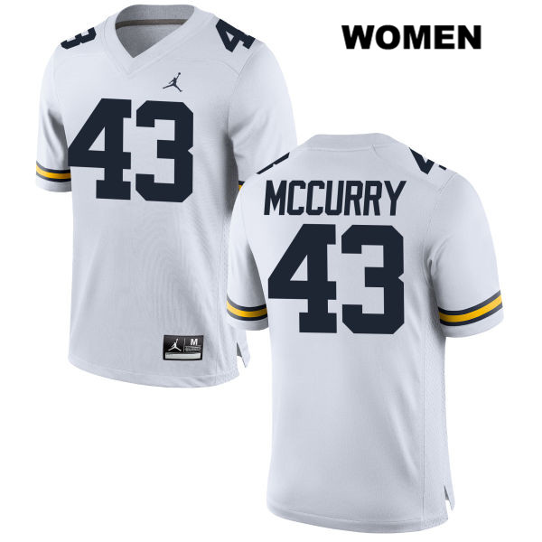 Womens Stitched no. 43 Michigan Wolverines Jordan White Jake McCurry Authentic College Football Jersey - Jake McCurry Jersey