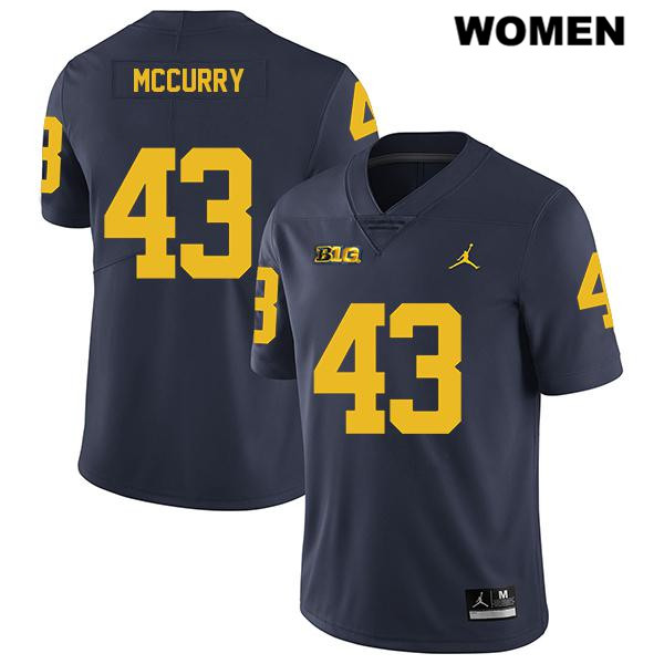Womens Stitched no. 43 Michigan Wolverines Navy Jordan Jake McCurry Legend Authentic College Football Jersey - Jake McCurry Jersey
