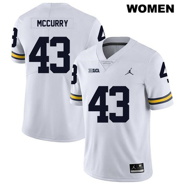 Legend Womens no. 43 Michigan Wolverines Jordan White Jake McCurry Stitched Authentic College Football Jersey - Jake McCurry Jersey